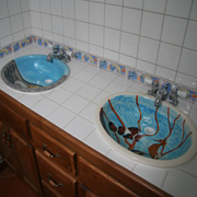 Handpainted Sinks in Guest Bath